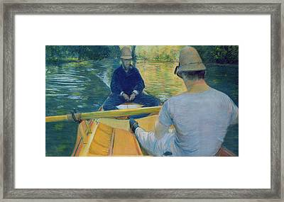 Boaters On The Yerres Framed Print by Gustave Caillebotte