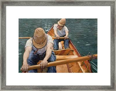 Boaters Rowing On The Yerres Framed Print by Gustave Caillebotte