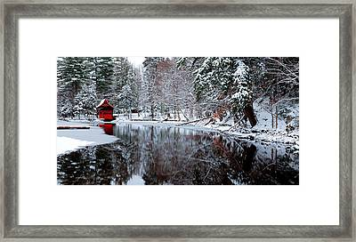 Boathouse In Winter On Beaver Brook Framed Print by David Patterson