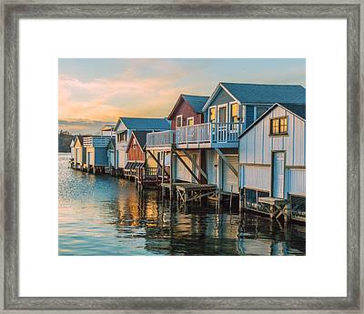 Boathouses In The Golden Hour Framed Print by Lou Cardinale