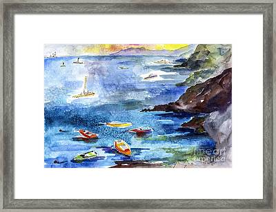 Boating In Italy Watercolor  Framed Print by Ginette Callaway