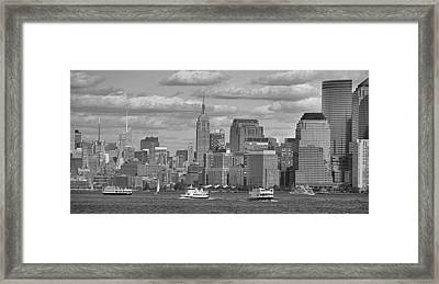 Boating In New York City Black And White Framed Print by Dan Sproul