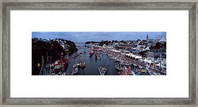 Boats At A Harbor, Port Rhu Harbour Framed Print by Panoramic Images