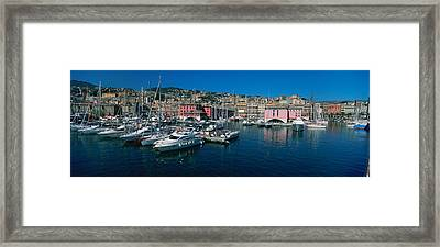 Boats At A Harbor, Porto Antico, Genoa Framed Print by Panoramic Images
