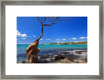 Boats At Anaehoomalu Bay Framed Print by James Eddy