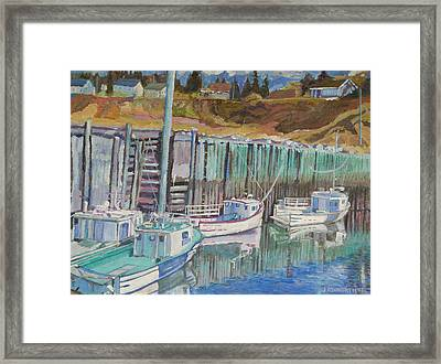 Boats At Halls Harbour Framed Print by Janet Ashworth