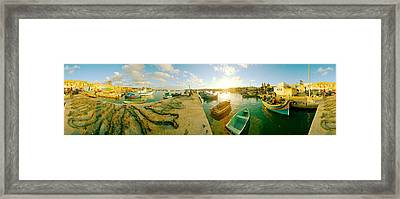 Boats At Harbor, Malta Framed Print by Panoramic Images