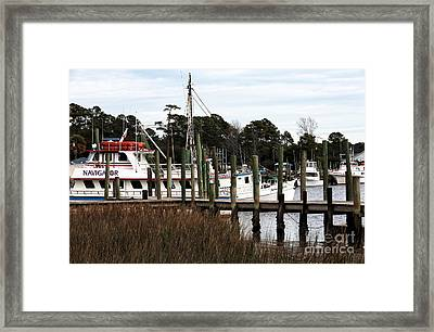 Boats At Little River Framed Print by John Rizzuto