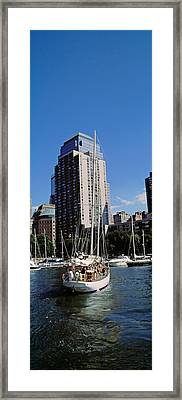 Boats At North Cove Yacht Harbor, New Framed Print by Panoramic Images