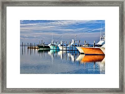 Boats At Oregon Inlet Outer Banks I Framed Print by Dan Carmichael