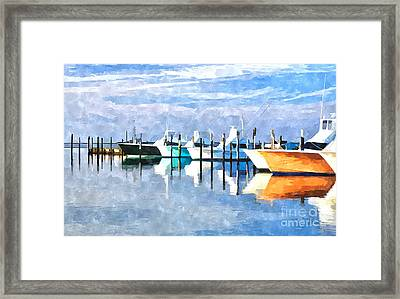 Boats At Oregon Inlet Outer Banks IIi Framed Print by Dan Carmichael