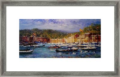 Boats At Portofino Italy  Framed Print by R W Goetting