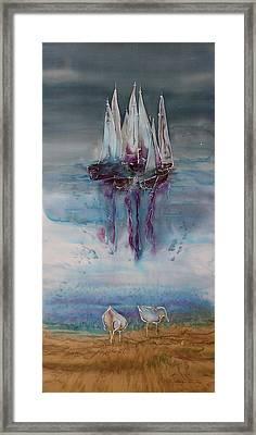 Boats At Sea Framed Print by Carolyn Doe