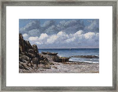 Boats At St Aubain Framed Print by Gustave Courbet