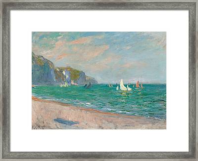 Boats Below The Pourville Cliffs Framed Print by Claude Monet
