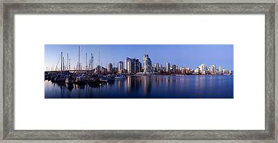 Boats Docked At A Harbor, Yaletown Framed Print by Panoramic Images