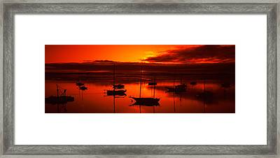 Boats In A Bay, Morro Bay, San Luis Framed Print by Panoramic Images
