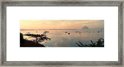 Boats In A Bay With Morro Rock Framed Print by Panoramic Images