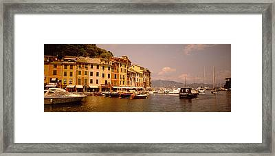 Boats In A Canal, Portofino, Italy Framed Print by Panoramic Images