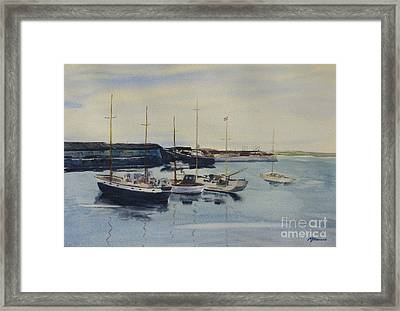 Boats In A Harbour Framed Print by Martin Howard