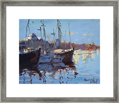 Boats In Mandraki Rhodes Greece  Framed Print by Ylli Haruni