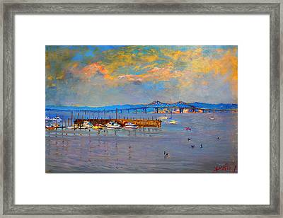 Boats In Piermont Harbor Ny Framed Print by Ylli Haruni