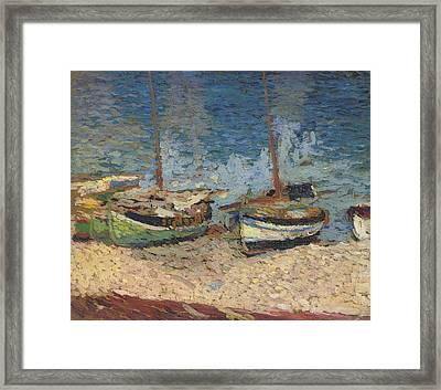 Boats In Port Collioure II Framed Print by Henri Martin - L Brown