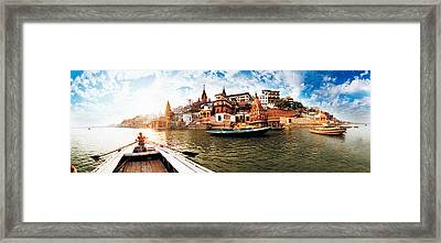 Boats In The Ganges River, Varanasi Framed Print by Panoramic Images