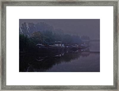 Boats In The Morning Mist  Framed Print by Guna  Andersone