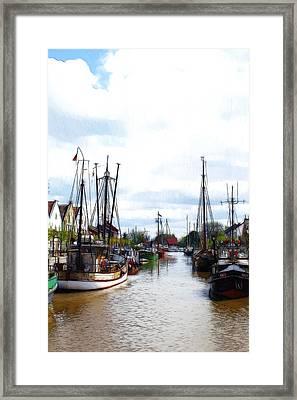 Boats In The Old Harbor Framed Print by Steve K
