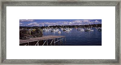 Boats In The Sea, Bass Harbor, Hancock Framed Print by Panoramic Images
