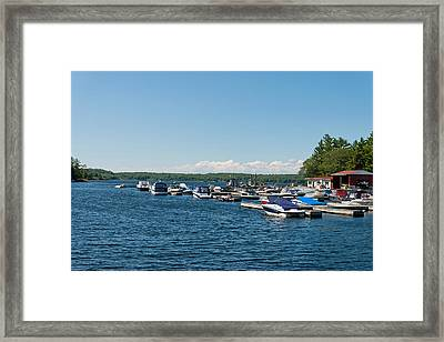 Boats In The Sea, Rose Point Marina Framed Print by Panoramic Images