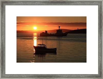 Boats In The Sunset Trondra Shetland Framed Print by Anne Macdonald