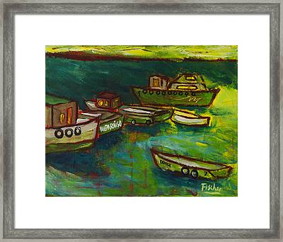 Boats In Valparaiso Framed Print by Rafael Fischer