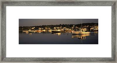 Boats Moored At A Harbor, Bass Harbor Framed Print by Panoramic Images