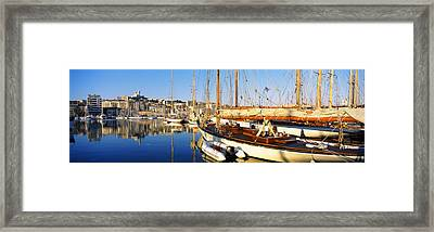 Boats Moored At A Harbor, Vieux Port Framed Print by Panoramic Images