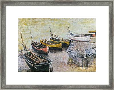 Boats On The Beach Framed Print by Claude Monet