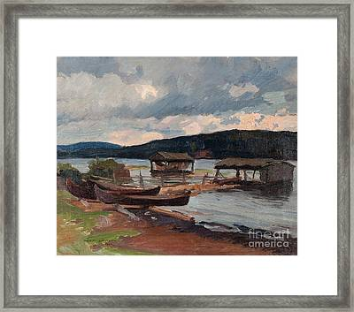 Boats On The Shore Framed Print by Celestial Images