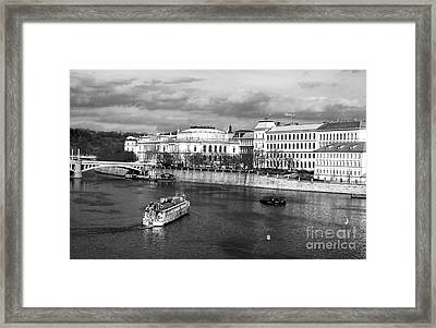 Boats On The Vltava Framed Print by John Rizzuto