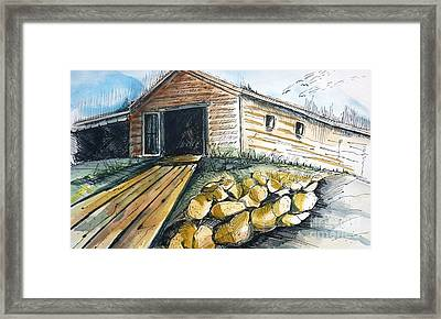 Boatshed - Pacific Creek - Original Sold Framed Print by Therese Alcorn