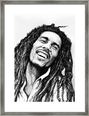 Bob Marley Art Drawing Sketch Portrait  Framed Print by Kim Wang
