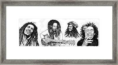 Bob Marley Art Drawing Sketch Poster Framed Print by Kim Wang