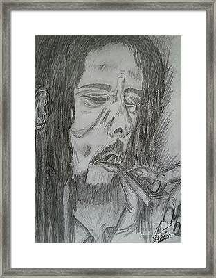 Bob Marley Pencil Portrait Art Framed Print by Collin A Clarke