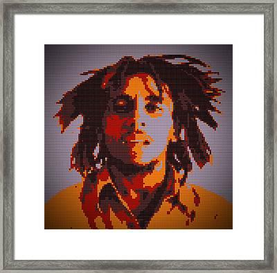Bob Marley Lego Pop Art Digital Painting Framed Print by Georgeta Blanaru