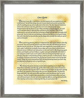 Bob Marley Love Quote Framed Print by Frederick Kenney