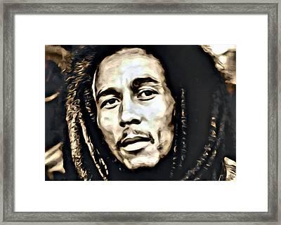 Bob Marley Portrait Framed Print by Florian Rodarte