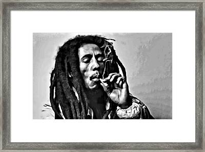 Bob Marley Smoking Framed Print by Florian Rodarte