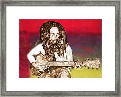 Bob Marley - Stylised Drawing Art Poster Framed Print by Kim Wang