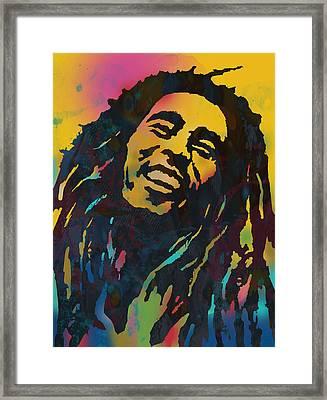 Bob Marley Stylised Etching Pop Art Drawing Potrait Poser Framed Print by Kim Wang