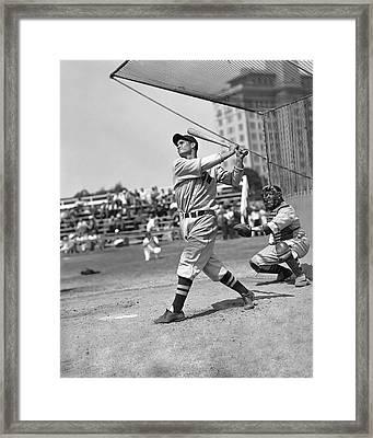 Bobby Doerr Hitting Framed Print by Retro Images Archive
